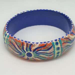 Timber Bangle - Blue & white swirl - Jewellery Unique - Irene  Bowyer