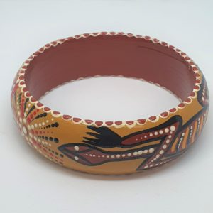 Timber Bangle - Goanna, ochre background, red, white & black dots - Jewellery Unique - Irene  Bowyer