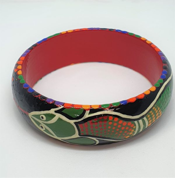 Timber Bangle - Green Rainbow Serpent, Black background, colouful design - Jewellery Unique - Irene  Bowyer