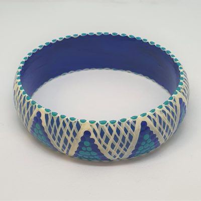 Timber Bangle - White cross hatch, blue dots, blue background - Jewellery Unique - Irene  Bowyer