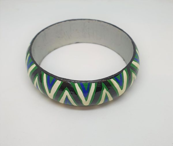 Timber Bangle - Green, White, Blue, Black Design 1 - Jewellery Unique - Lauren  Bowyer