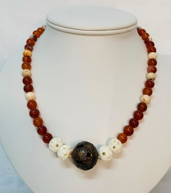 Necklace - CArnelian/Carved Ox Bone/Brass Beads - Jewellery Unique - Larissa  Hale