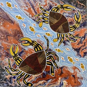 Crabs in the shallows - Painting - Larissa  Hale