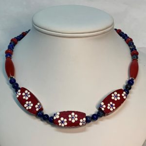 Lapis with red Stone Necklace - Jewellery Unique - Larissa  Hale